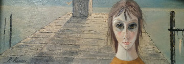 Untitled (Girl On Pier) 10x24 (Big Eyes) early 1970 Original Painting by Margaret D. H. Keane