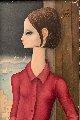 Untitled Portrait  of a Woman 1963 16 x 8 (big Eyes) Original Painting - Margaret D. H. Keane
