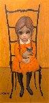 At Grandmas House 1961 12x6 Original Painting - Margaret D. H. Keane