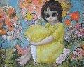 In the Garden 1963 31x37 (Big Eyes) Original Painting - Margaret D. H. Keane