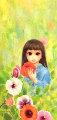 Gardener  20x35 1971 (Big Eyes) Original Painting - Margaret D. H. Keane