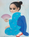 Untitled Asian Girl 1981 25x21 (Big Eyes) Original Painting - Margaret D. H. Keane