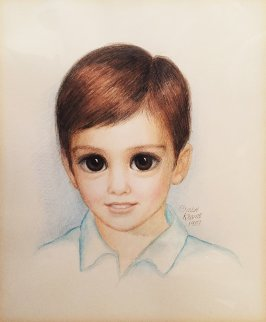 Young Matthew (Big Eyes) 1987 19x20 (Big Eyes) Works on Paper (not prints) by Margaret D. H. Keane