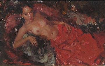 Nude in Red 1993 19x15 Original Painting - Ramon Kelley