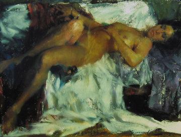 Helena, Sleeping Nude Pastel 1977 12x15 Original Painting by Ramon Kelley