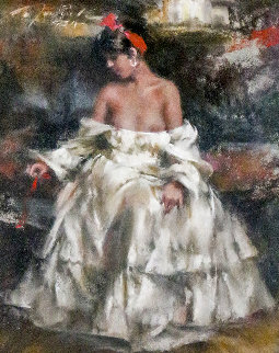 White Dress Vintage Pastel 2005 12x9 Original Painting - Ramon Kelley
