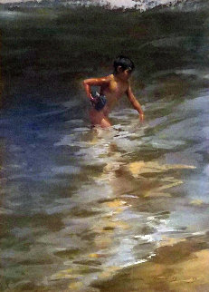 Beach At Vera Cruz Pastel 1968 23x19 Original Painting - Ramon Kelley