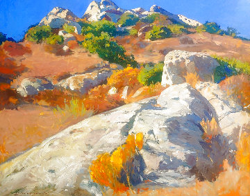 Topanga Rocks, Laguna Canyon 2005 46x56 Huge Original Painting - Mark Kerckhoff