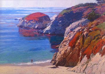 Bather At China Cove - Point Lobos, San Diego 38x48 Super Huge Original Painting - Mark Kerckhoff
