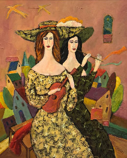 Beautiful Duo 29x29 Original Painting by Alex Khomsky