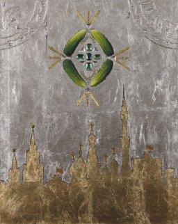 U.F.O. Over Moscow 2012 30x24 Original Painting - Alex Khomsky