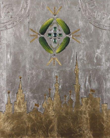 U.F.O. Over Moscow 2012 30x24 Original Painting by Alex Khomsky