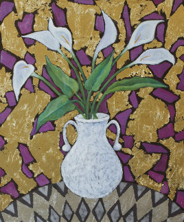 Calla on Gold  2016 24x20 Original Painting - Alex Khomsky
