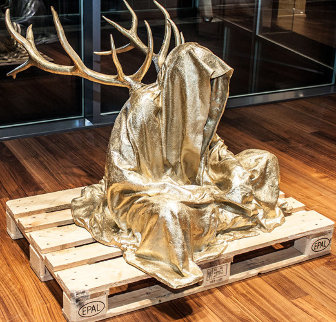 Guardians of Time with Antlers Bronze Sculpture 2014 Sculpture - Manfred Kielnhofer