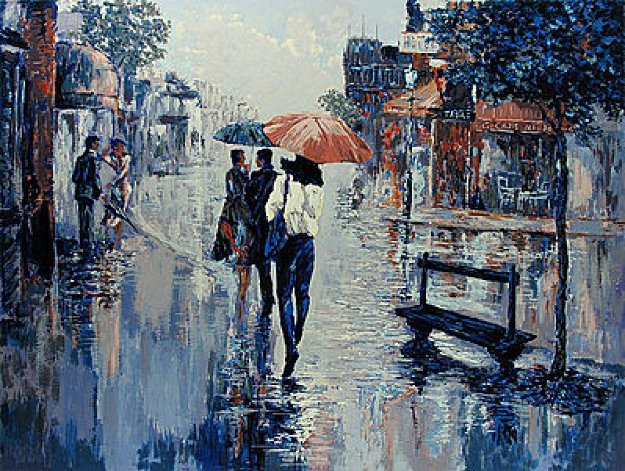Pink Umbrella 1990 Limited Edition Print by Mark King