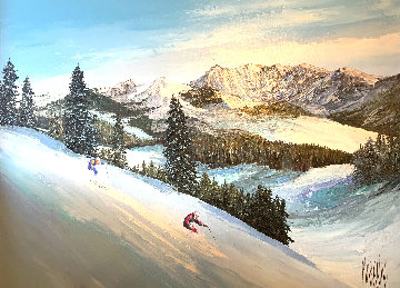 Powder Ridge 1991 46x58 Super Huge Original Painting - Mark King