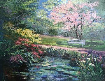 Untitled Landscape 45x55 Huge Original Painting - Mark King