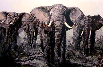 Elephant Stand 1980 33x47 Huge  Limited Edition Print - Mark King