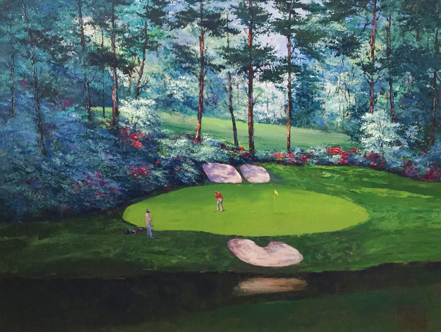 Augusta #12 - Amen Corner 2013 41x51 Original Painting by Mark King