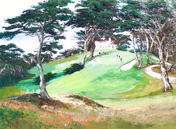 Cypress Pt. Club House #18 45x58 Huge Pebble Beach Original Painting - Mark King