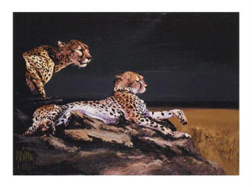 Pair of Cheetahs AP 2009 Embellished Limited Edition Print by Mark King