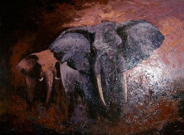 Elephants At Sundown 2005 40x54 Huge Original Painting - Mark King