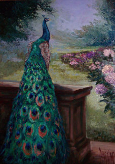 Peacock Glory 2007 47x33 Original Painting - Mark King