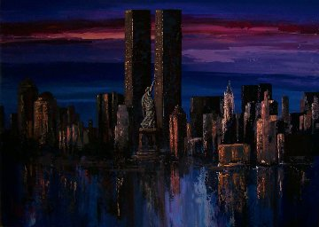 Twin Towers - Midnight Reflections New York 42x54  Huge Original Painting - Mark King