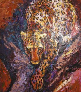 Leopard 2006 49x43 Original Painting - Mark King