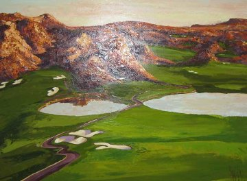 Wolf Creek Golf Course #1, hole #8 and #9 2008 30x39 Original Painting - Mark King