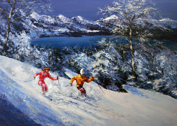 Sierra Glow (skiing) 24x35 Original Painting - Mark King