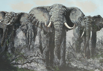 Elephant Stand 33x45 Huge  Limited Edition Print - Mark King