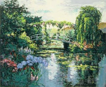 Giverney Wisteria Agapanthes Bridge 1991 Limited Edition Print by Mark King