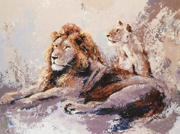 Resting Lions 2009 Limited Edition Print by Mark King