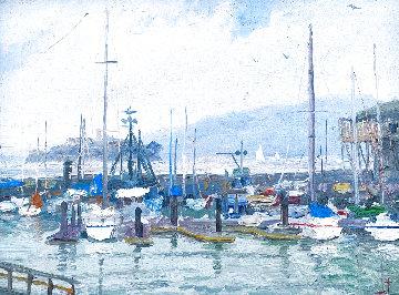 Fisherman's Wharf 1988 11x13 Original Painting - Thomas Kinkade