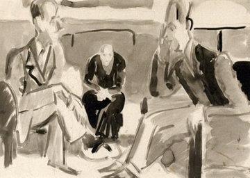 Unterhaltung 1922  18x23 Original Painting - Ernst Ludwig Kirchner