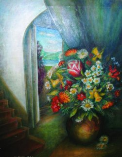 Vase With Flowers And Interior 1940 40x34 Huge Original Painting - Moise Kisling