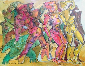 Watching Watercolor 1996 22x28 Watercolor - Valery Klever