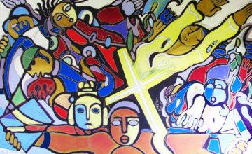Maria Ledezma 1988 52x78 Super Huge  Original Painting - Valery Klever