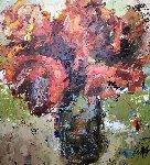 Afternoon Red 48x48 Original Painting - Julia Klimova