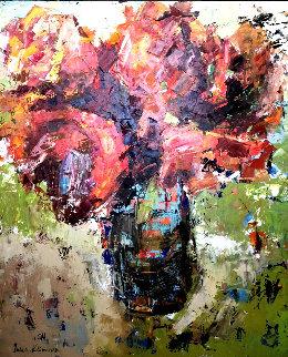 Afternoon Red 48x48 Super Huge Original Painting - Julia Klimova