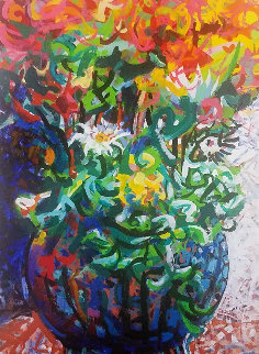 Untitled (Flowers in a Vase) 1995 23x18 Original Painting by Richard Klix