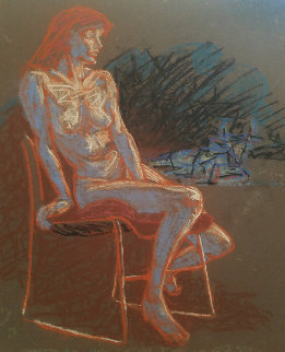 Untitled (Nude Woman on a Chair) Pastel  1996 19x19 Original Painting by Richard Klix
