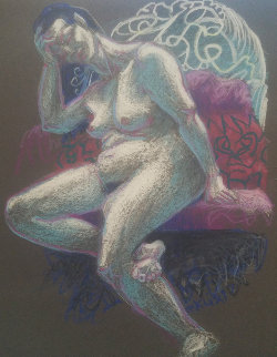 Untitled (Nude Woman With Hand on Her Head) Pastel 1997 15x12 Original Painting by Richard Klix