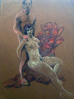 Untitled (Nude Man And Woman) Pastel 1995 19x13 Original Painting by Richard Klix