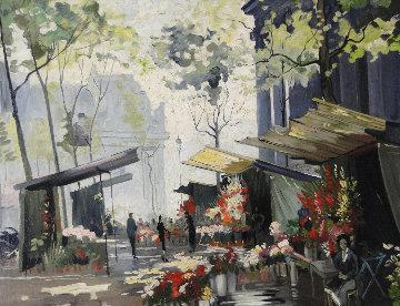 Marche Aux Fleurs, Paris 34x40 Original Painting - Constantin Kluge