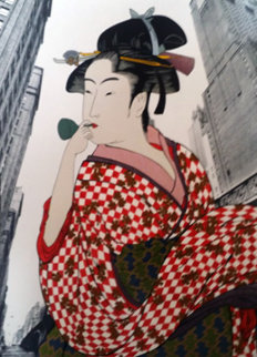 Woman Playing a Poppin After Utamaro AP 1981 Limited Edition Print - Michael Knigin