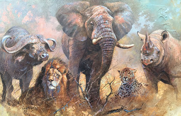 Big 5 1999 64x44 Super Huge Original Painting - Kobus Moller