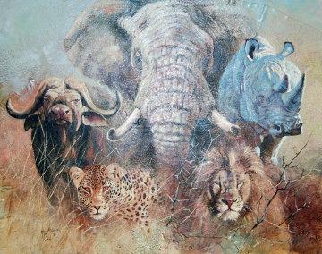 Big Five on Leather 1996 29x37 Original Painting - Kobus Moller
