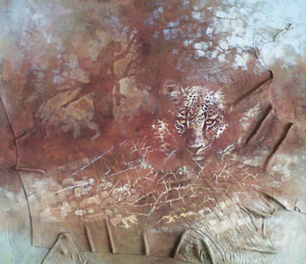 Leopard Study 41x35 Original Painting by Kobus Moller